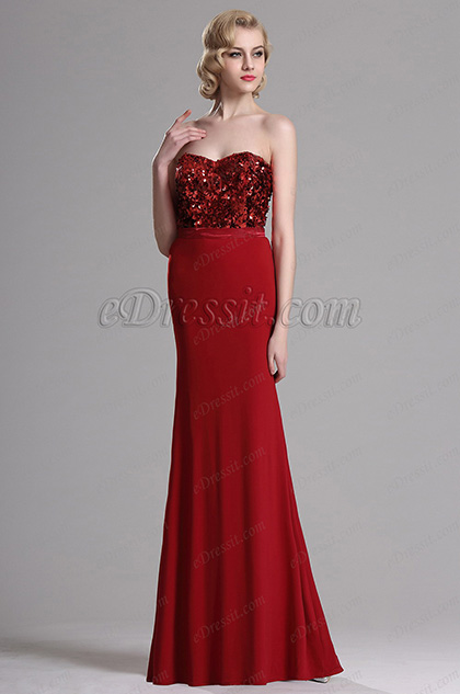Red Strapless Sweetheart Sequin Evening Formal Gown