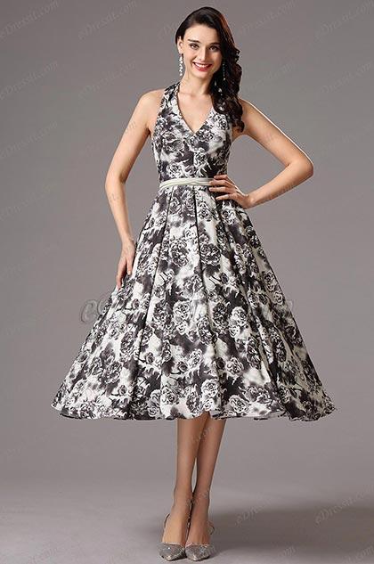 Printed Tea Length Dresses