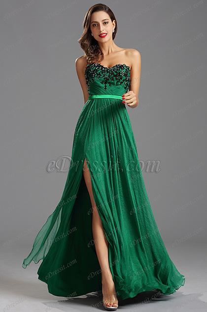 Strapless Sweetheart High Slit Green Formal Dress Evening Gown (00160204)