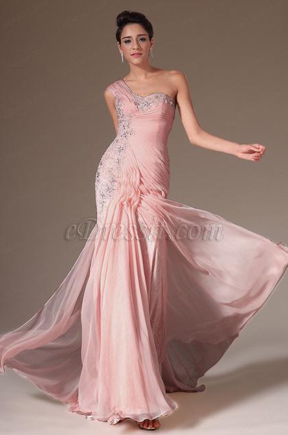 Pink Charming One Shoulder Evening Dress (H00143901)