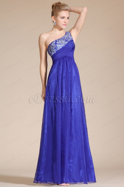 One Shoulder Empire Long Evening Dress(C36140205)