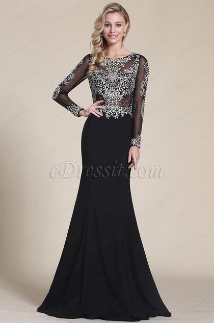 Выпускное Платье с Бисерами и Длинными Рукавами (C36150500)