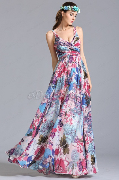 eDressit Plunging Sleeveless Printed Dress Floral Dress (07151668)