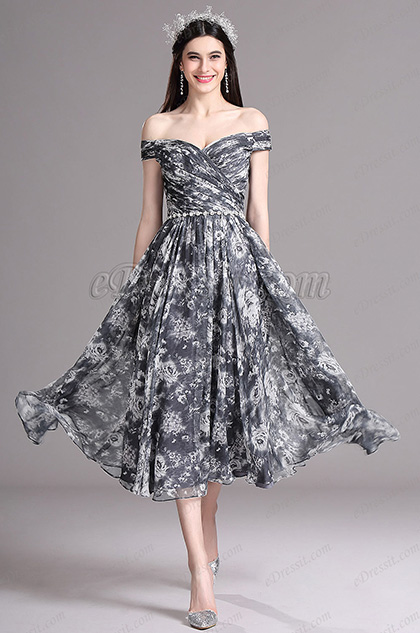 eDressit Black Print Off Shoulder Tea Length Cocktail Party Dress (X04152100)