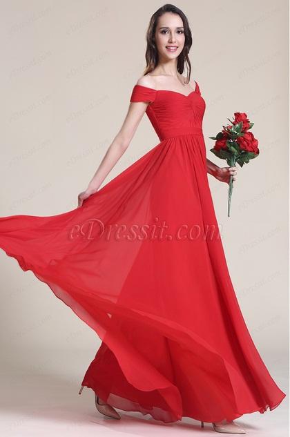 Rojo Vestido de Dama de Honor Hombro Caído (07151702)