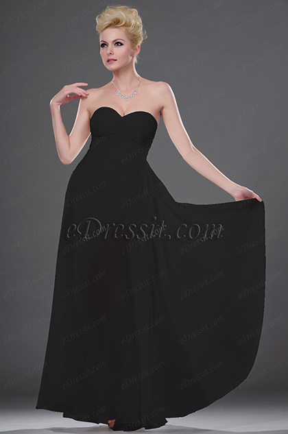 Fabulous Black Strapless Evening Dress (H00113007)
