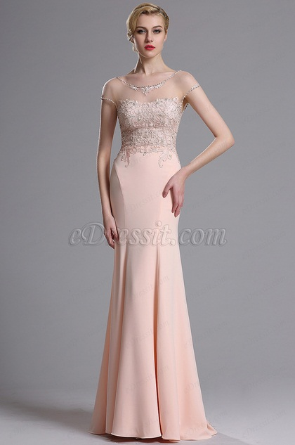 eDressit Pink Illusion Neckline Beaded Mermaid Prom Gown (02163601)