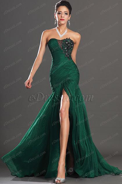 Stunning Green High Slit Strapless Evening Dress (00134604) (H00134604)