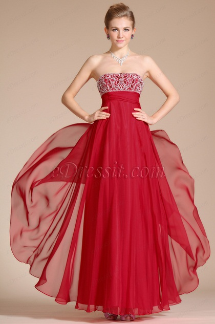 New Charming Red Strapless A-line Evening Dress(C36140402)