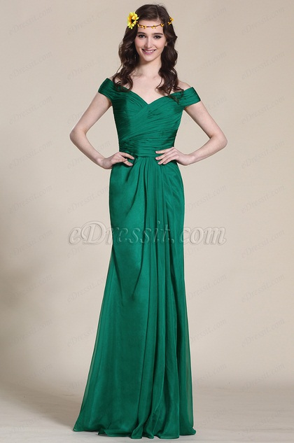 Off Shoulder Dark Green Evening Gown Bridesmaid Dress (07153704)