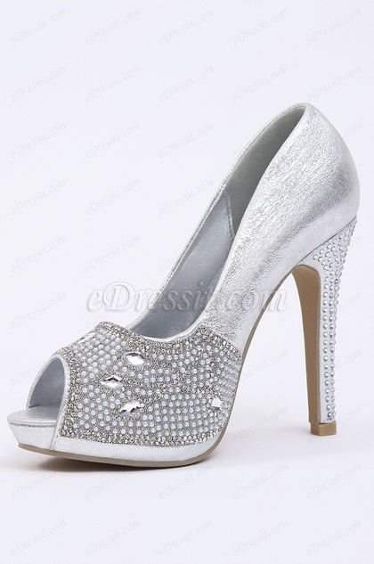 Silver Crystal Peep Toe High Heels (09150226)