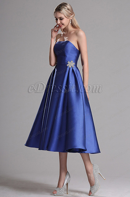 eDressit Blue Strapless Party Cocktail Dress (04161505)
