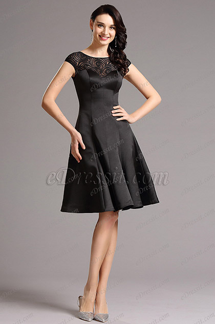 Capped Sleeves Lace Neck Black Cocktail Dress Party Dress (04160300)