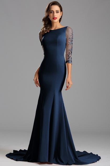 Robe de soirée manche midi sirène dentelle bleu sexy  (26162305)