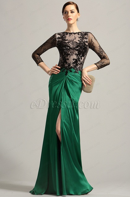 Graceful Long Sleeves High Slit Evening Dress Formal Gown (02154104)