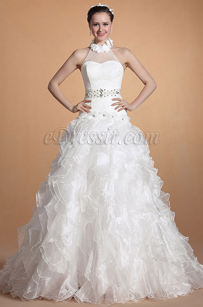 Round Halter Neck Beaded Wedding Gown (C37143907)