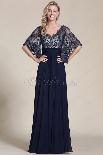 eDressit Stylish Navy Blue Evening Dress With V Neck (C36151905)