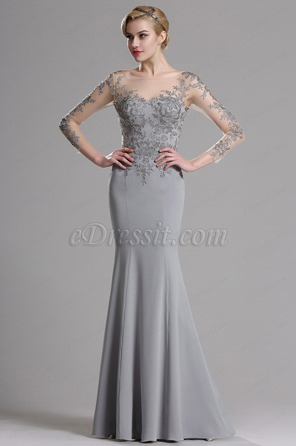 eDressit Illusion Neckline Floral Applique Prom Evening Dress (26162708)