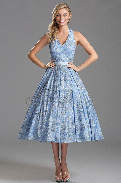 Light Blue Plunging V Neck Tea Length Party Dress (X04161232)