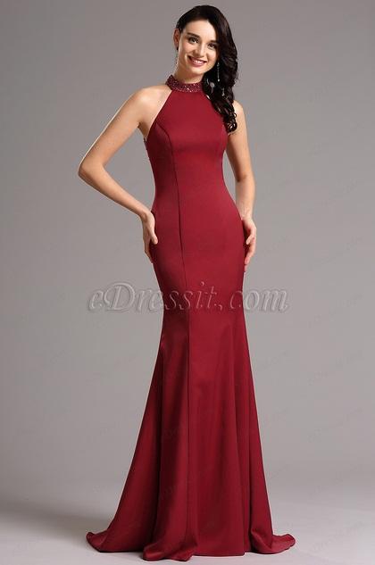 1b6f71cef Beaded Halter Neck Burgundy Prom Dress Evening Dress (00161317)