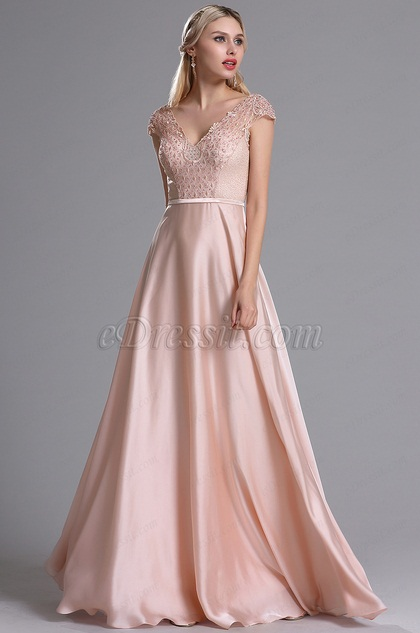 eDressit Pink V Neckline Embroidery Beaded Prom Dress (02164001)
