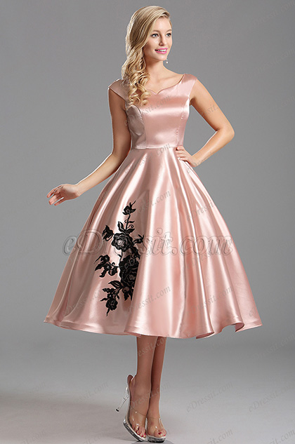 Off Shoulder V Neck Pink Tea Length Cocktail Dress (X04161146)