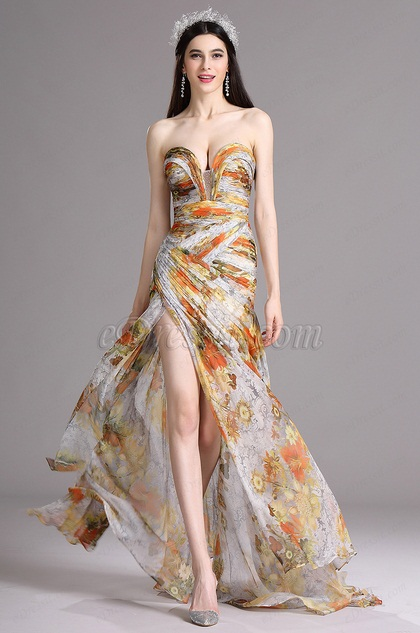 eDressit Floral Strapless Sweetheart Printed Prom Evening Summer Dress (X00120533)