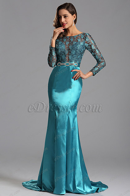 Long Sleeves Illusion Lace Bodice Blue Evening Dress (X02152932)
