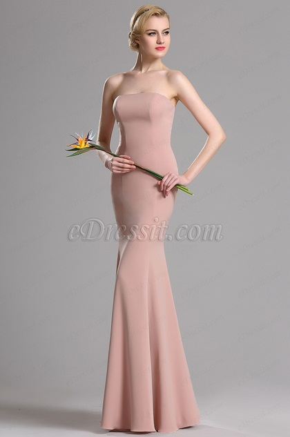 eDressit Rosig Brown Strapless Mermaid Abschlussball Kleid (00163646)