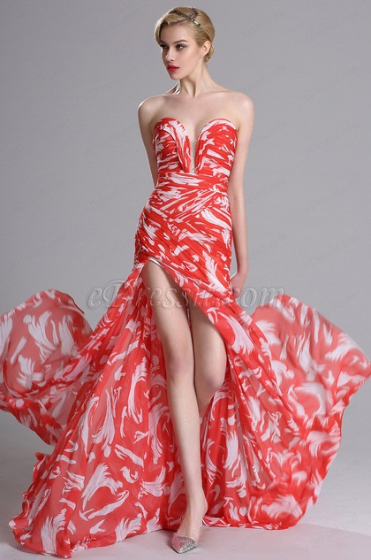 Strapless Sweetheart Printed Evening Prom Dress (X00120502)