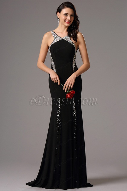 Gorgeous Black Long Formal Gown with Beaded Halter Neck (36162300)