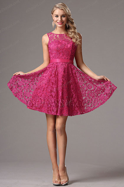 sleeveless hot pink party dress bridesmaid dress
