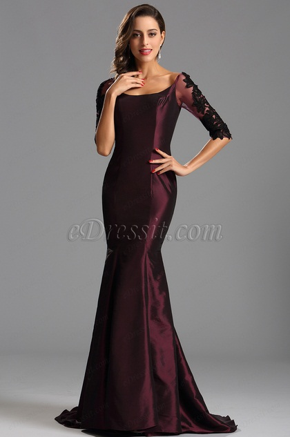Elegante Langes Burgund Formelles Kleid Abendkleid(X26151617-1)