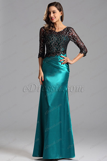 Half Sleeves Lace Bodice Formal Evening Dress (X02152805)