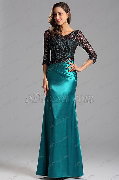 Elegante Azul Vestido Fiesta Formal Corte Especial Sirena  (X02152805)