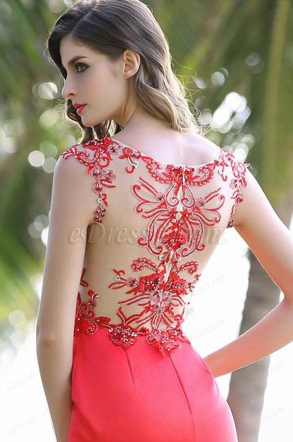 eDressit Sexy Illusion V Cut High Slit Red Formal Dress (00160102)