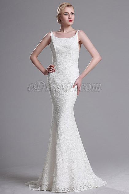 eDressit Белое Вечернее Платье в Стиле Русалки (X00163407-1)