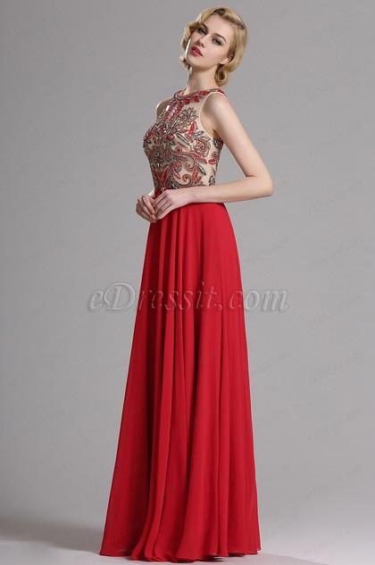 Красное Вечернее Платье без Рукава с Бисерами (36163302)