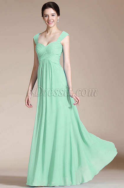 Mint Empire Waistline Bridesmaid Dress Evening Dress