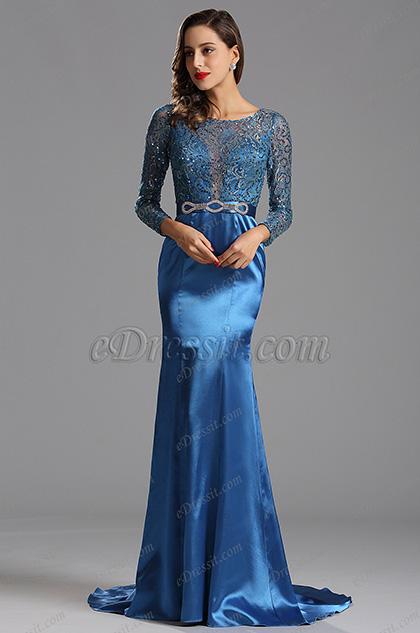 Long Sleeves Blue Sequin Formal Dress Evening Dress (X02152905-1)