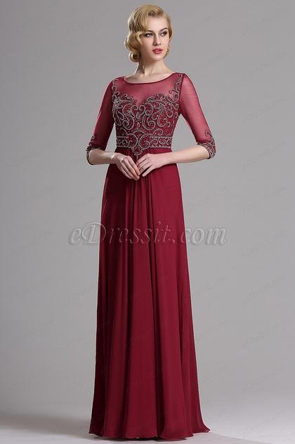 Vestido de Noche Largo Adornados Detalles  (36163817)