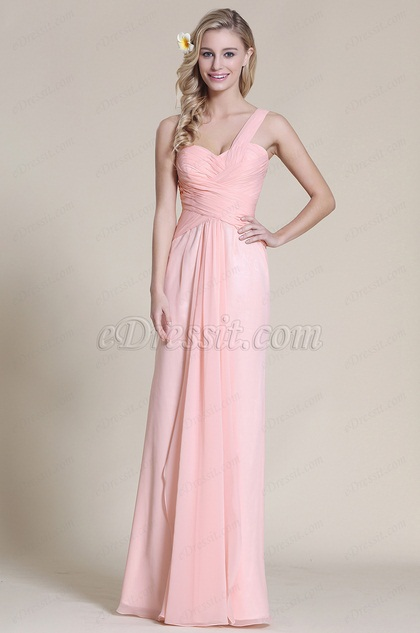 One Shoulder Pink Bridesmaid Dress Evening Gown (07152801)