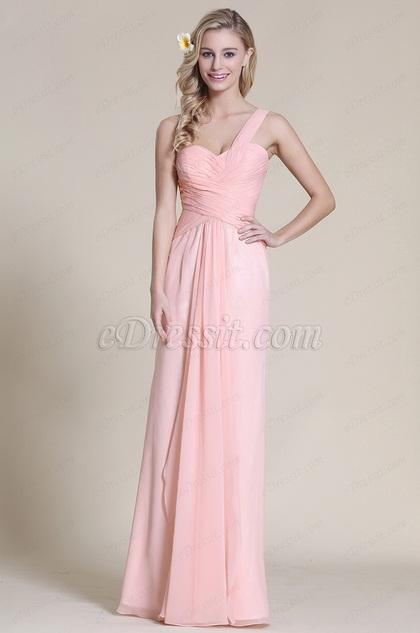 Robe demoiselle d'honneur longue rose col asymétrique (07152801)