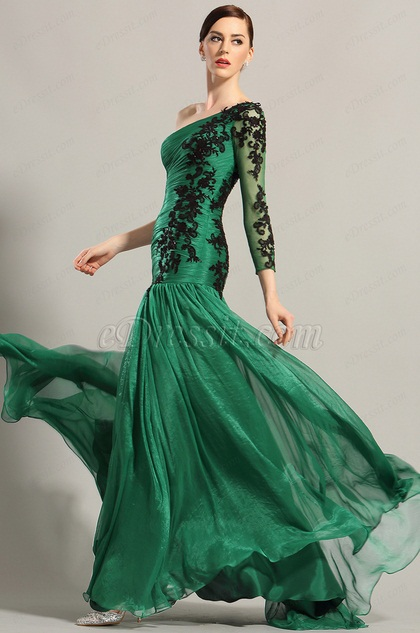 eDressit Dark Green One Sleeve Applique Evening Dress (02153904)