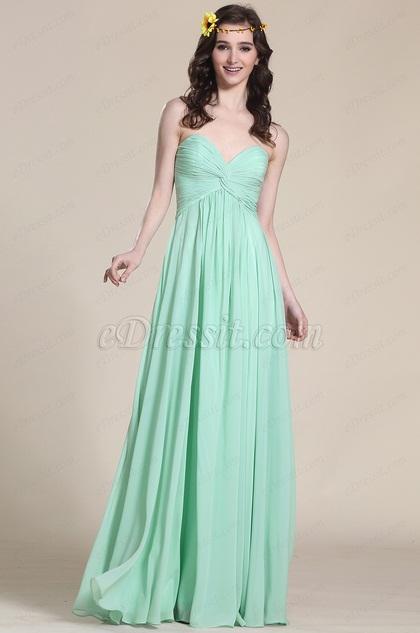 Robe demoiselle d 39 honneur longue verte sans bretelle for Robes de demoiselle d honneur aqua pour mariage sur la plage