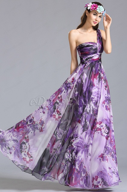 One Shoulder Printed Dress Summer Floral Dress (07151368)