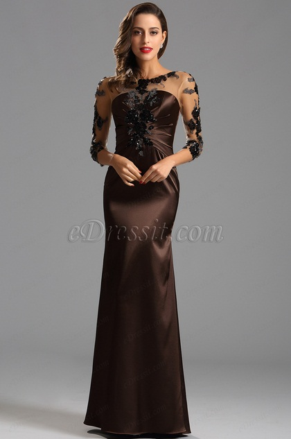 Long Sleeves Ruched Bodice Formal Evening Dress (X26150820 (1))
