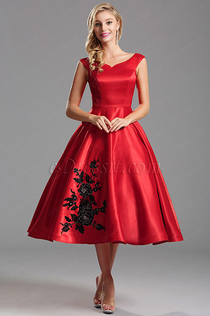 Off Shoulder Red Party Dress with Floral Embroidery (X04161102)
