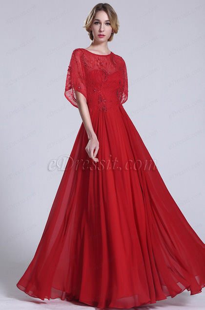 Robe de soirée longue rouge dentelle avec manches (C36152302)