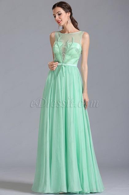 Robe de soirée longue vert menthe décolleté sexy (00154604)